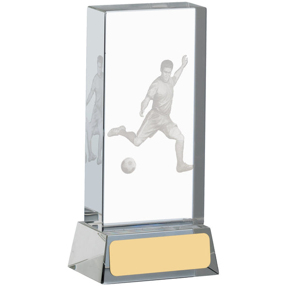 Football Glass Block With Player 12cm