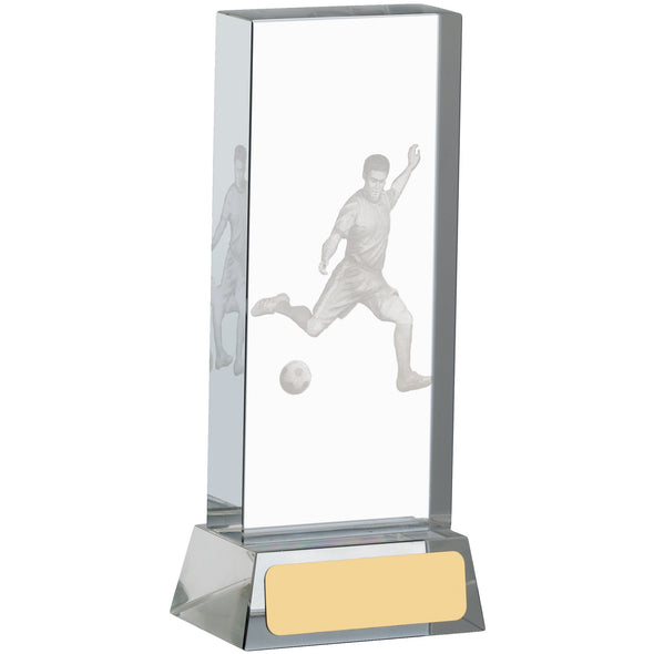 Football Glass Block With Player 14cm
