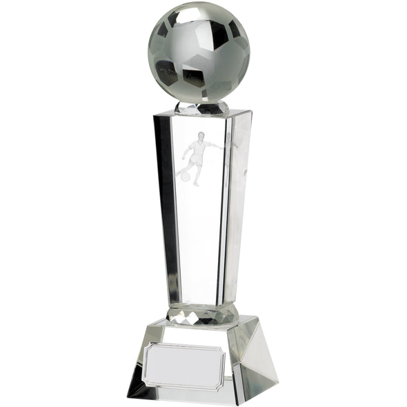 Victory Football Glass Pillar Award 21cm