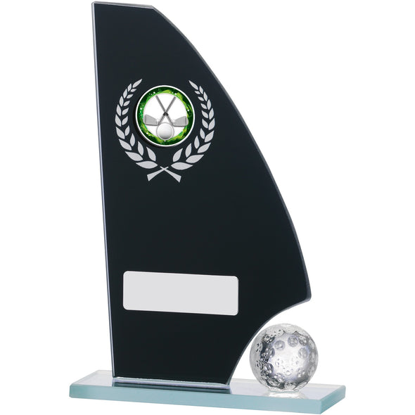 Black Glass Golf Plaque Award 16.5cm