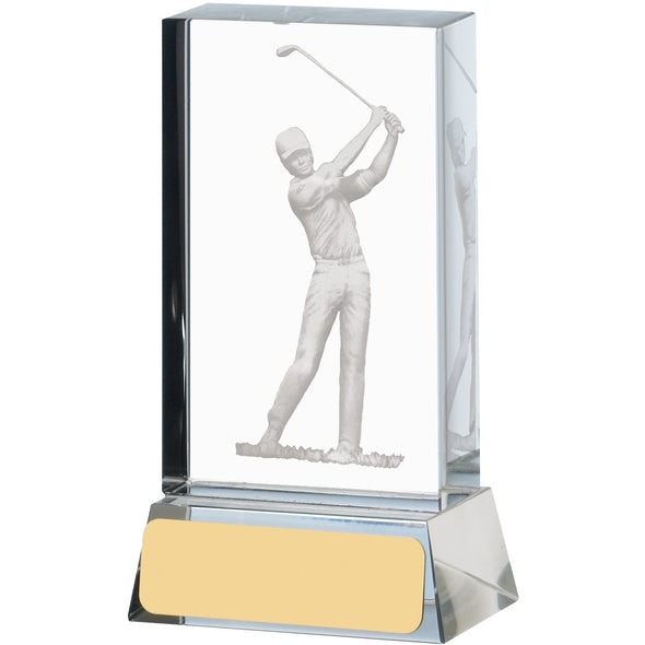 Golf Glass Block 10cm Trophy