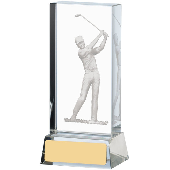 Golf Glass Block 12cm Trophy