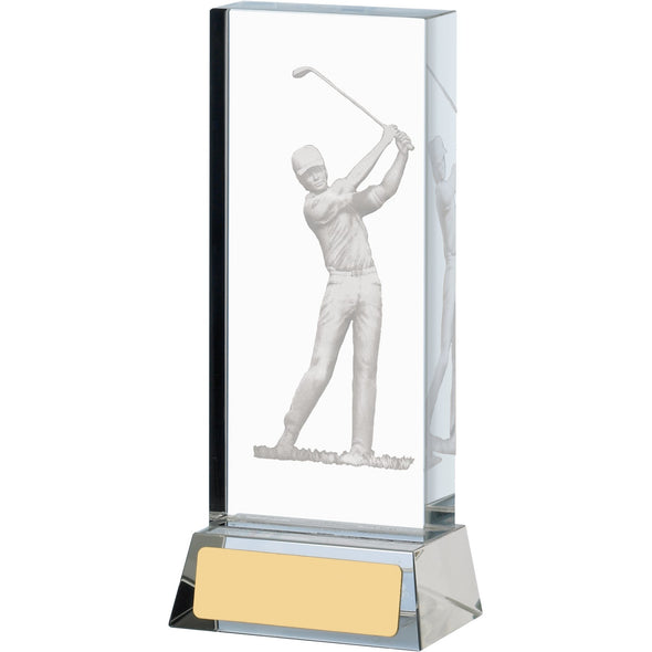Golf Glass Block 14cm Trophy