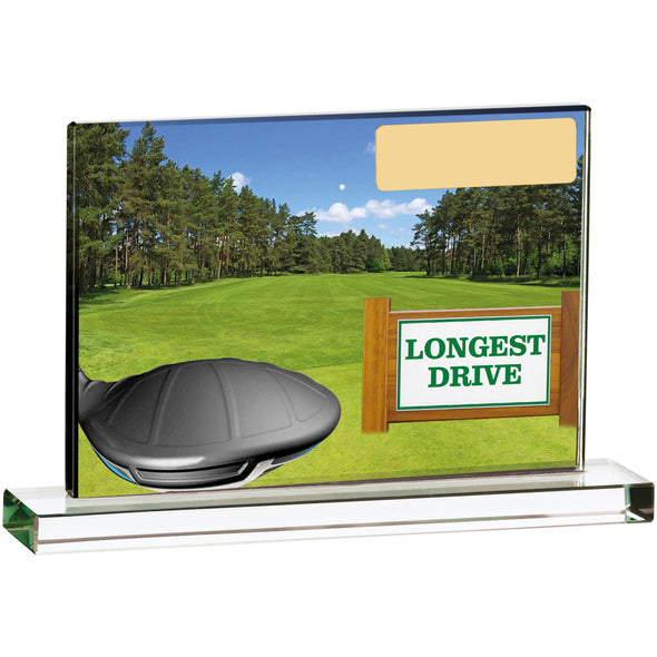 Golf Scene Longest Drive 15cm X 10cm Trophy