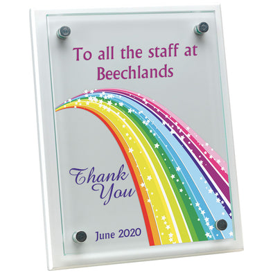 White Plaque With 6mm Glass Front - Rainbow Theme