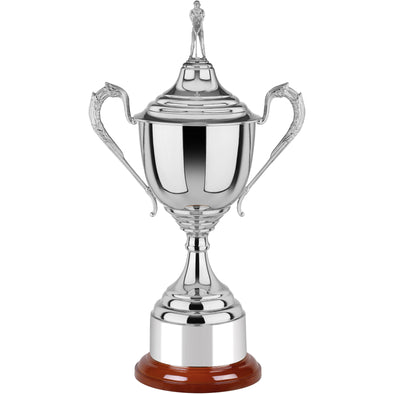 Lidded Nickel Plated Golf Cup 28.5cm