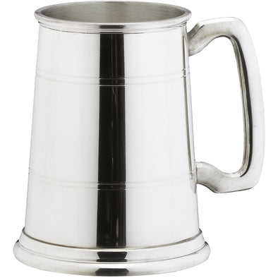 Engraved 1 Pint Classic Lined Pewter Tankard