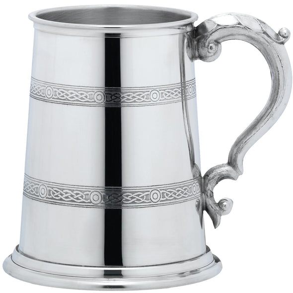Engraved 1 Pint Celtic Band Pewter Tankard