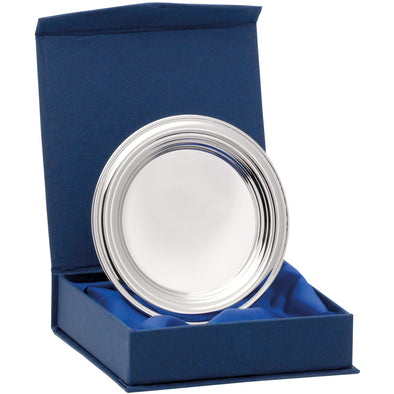 Nickel Plated Ridged Tray With Presentation Box & Stand 4 Inches (10cm)