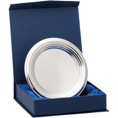 Nickel Plated Ridged Tray With Presentation Box & Stand 6.25 Inches (16cm)