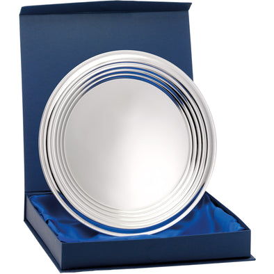 Nickel Plated Ridged Tray With Presentation Box & Stand 8 Inches (20.5cm)