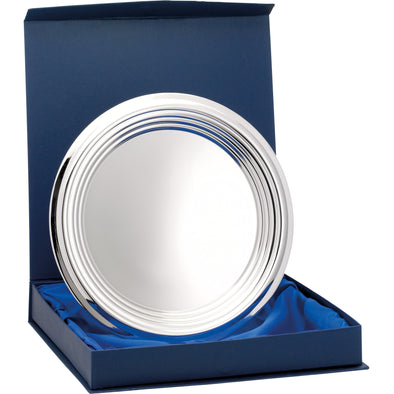 Nickel Plated Ridged Tray With Presentation Box & Stand 9.75 Inches (24cm)