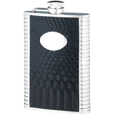 Engraved 8 Ounce Black Stainless Steel Flask