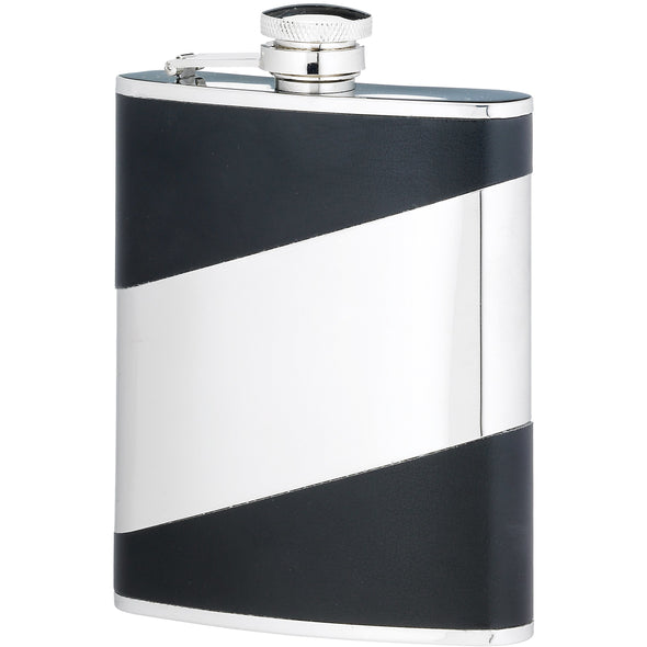 Engraved 6 Ounce Black Stainless Steel Flask