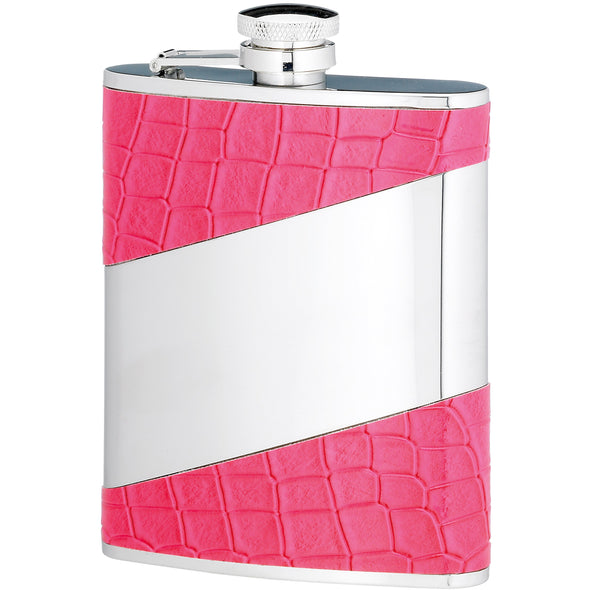 Engraved 6 Ounce Pink Stainless Steel Flask