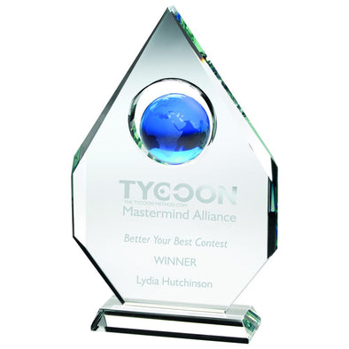 Clear Glass Award - Diamond Plaque With Blue Globe -  (15mm Thick) 9in