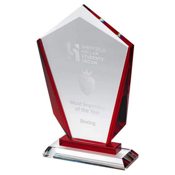 Clear Glass Award - Pointed Plaque With Red Sides And Step (15mm Thick) - 9.5in