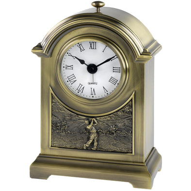Antique Brass Arch Golf Clock Trophy 6.25in