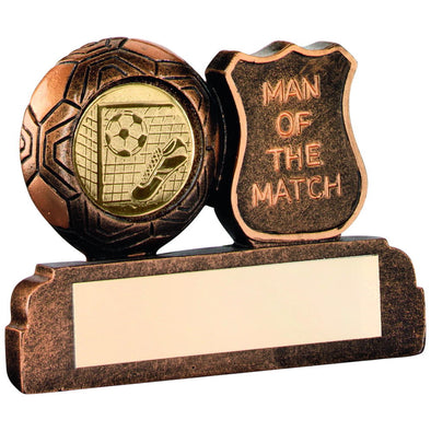 Bronze/Gold Resin Football 'man Of The Match' Trophy - (1in Centre) 2.5in