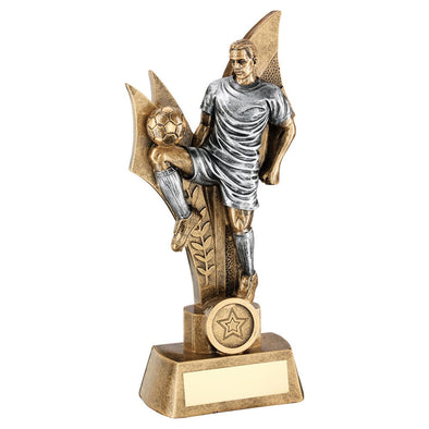 Bronze/Pewter 'knee Control' Male Football Figure Trophy (1in Centre) - 7.75in