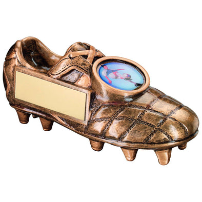 Bronze/Gold Football Boot Trophy - (1in Centre) 4.5 X 2in