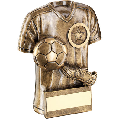 Bronze/Gold Football Trophy Shirt With Boot/Ball Trophy - (1in Centre) 6in