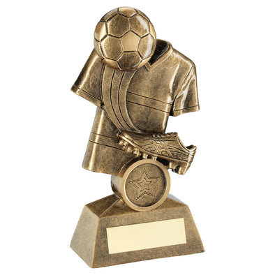 Bronze/Gold Football And Boot On Shirt Backdrop Trophy (1in Centre) - 5in