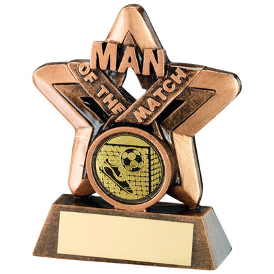 Bronze/Gold Man Of The Match Mini Star With Football Insert Trophy - 3.75in