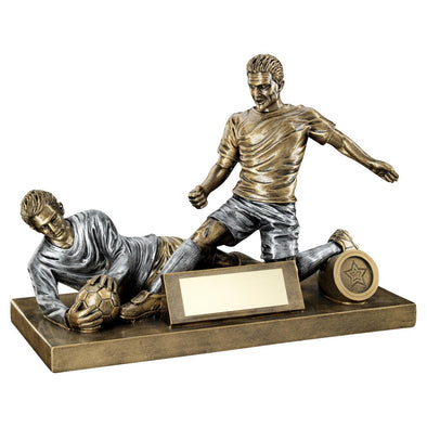Bronze/Pewter Male Football Figure And Goalkeeper Trophy (1in Centre) - 7.5 X 10.5in