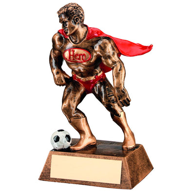Bronze/Gold/Red Resin Football 'hero' Trophy - 6.25in