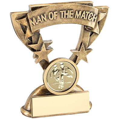 Bronze/Gold Man Of The Match Mini Cup With Football Insert Trophy - 3.75in