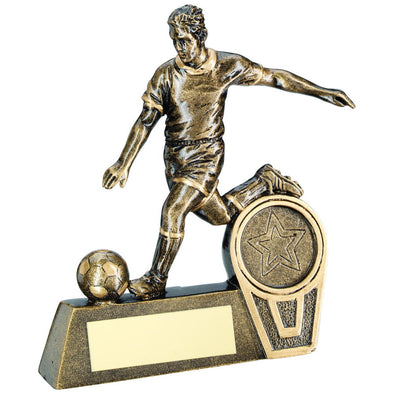 Bronze/Gold Mini Male Football Figure Trophy - (1in Centre) 4in