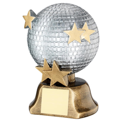 Silver/Bronze/Gold Glitter Ball With Stars Trophy - 6in