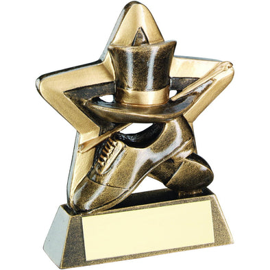 Bronze/Gold Top Hat/Gloves/Cane Mini Star Trophy - 3.75in