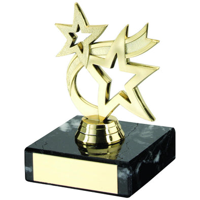 Gold Plastic And Marble 'dancing Star' Trophy - 4.5in