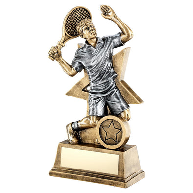 Bronze/Gold/Pewter Male Tennis Figure With Star Backing Trophy (1in Centre) - 9in