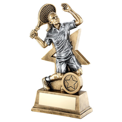 Bronze/Gold/Pewter Female Tennis Figure With Star Backing Trophy (1in Centre) - 9in