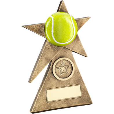 Bronze/Gold/Yellow Tennis Star On Pyramid Base Trophy - (1in Centre) - 6in