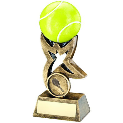 Bronze/Gold/Yellow Tennis Ball On Star Riser Trophy - (1in Centre) 7in