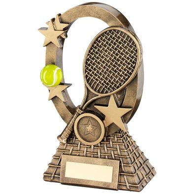 Bronze/Gold/Yellow Tennis Oval/Stars Series Trophy - (1in Centre) 7.25in