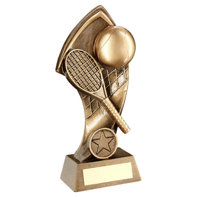 Bronze/Gold Tennis With Twisted Backdrop Trophy (1in Centre) - 7in