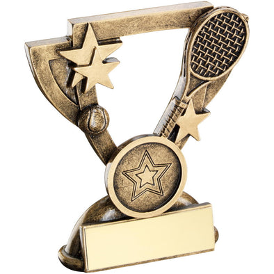 Bronze/Gold Tennis Mini Cup Trophy - (1in Centre) 4.25in