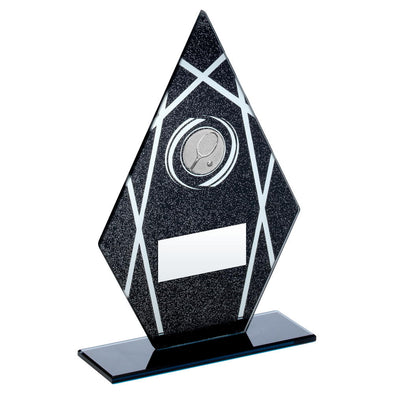 Black/Silver Printed Glass Diamond With Tennis Insert Trophy - 8in