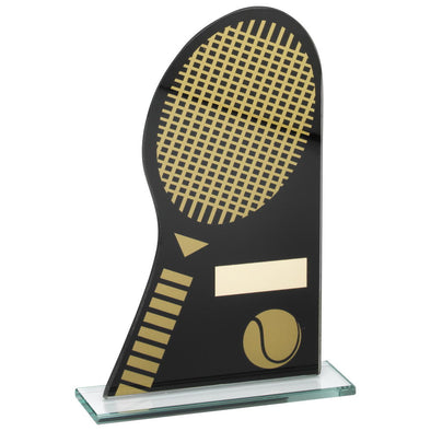 Black/Gold Printed Glass Plaque With Tennis Racket/Ball Trophy - 8in