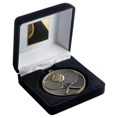 Black Velvet Box And 60mm Medal Tennis Trophy - Antique Silver - 4in