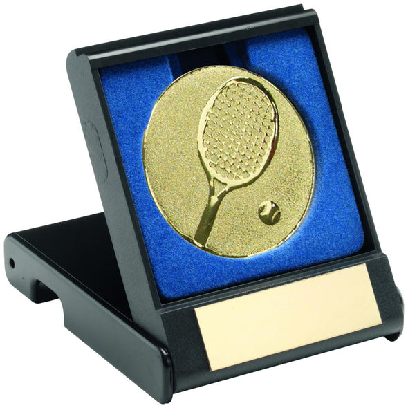 Black Plastic Box With Tennis Insert Trophy - Gold 3.5in