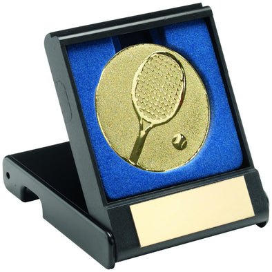Black Plastic Box With Tennis Insert Trophy - Silver 3.5in