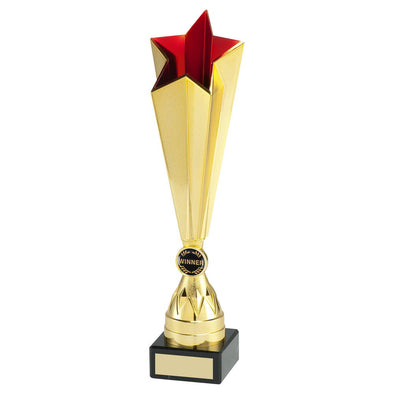 Gold/Red Plastic Tall Star Trophy (1in Centre) - 10.75in