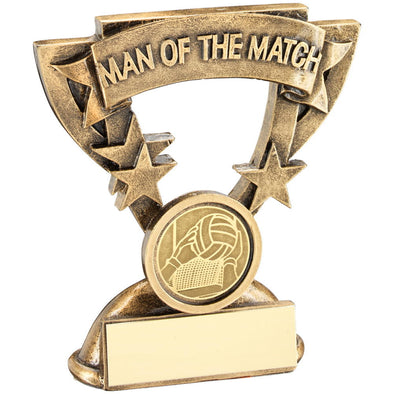 Bronze/Gold Man Of The Match Mini Cup With Gaelic Football Insert Trophy - 3.75in
