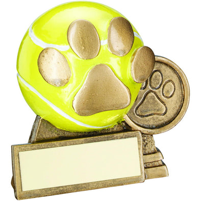 Bronze/Gold/Yellow 3d Mini Tennis Ball With Dog Paw Trophy - (1in Centre) 3in
